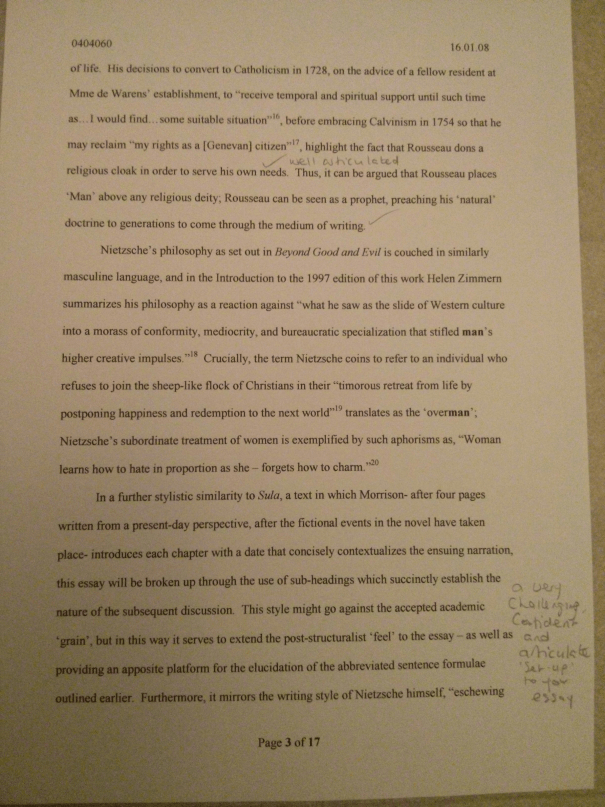An image of the third marked page of Chris Larham's 2,900 word essay responding to Kate Chopin's quote [68%, 2008].