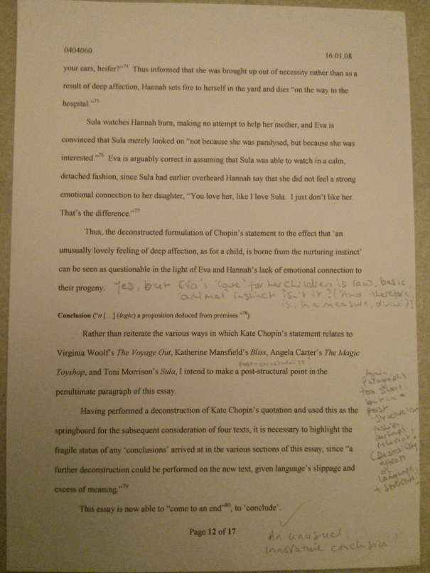An image of the twelfth and final marked page of Chris Larham's 2,900 word essay responding to Kate Chopin's quote [68%, 2008].