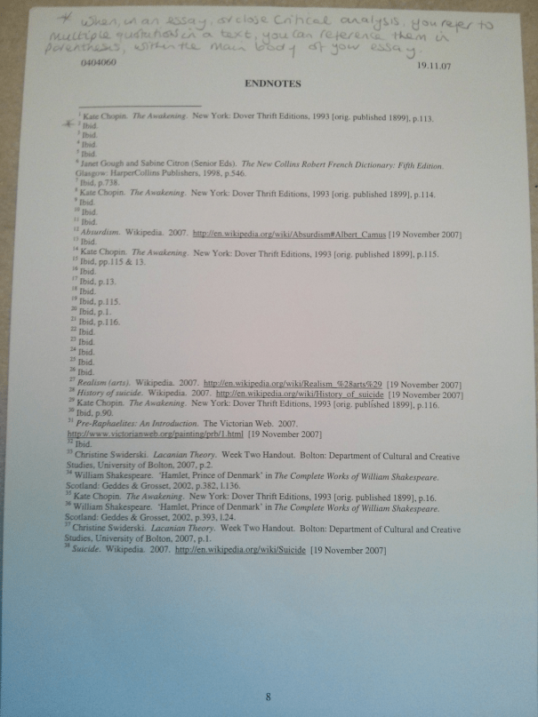An image of the reference page of Chris Larham's 1,500 word close textual analysis of chapter thirty-nine of Kate Chopin's 'The Awakening' [66%, 2007].