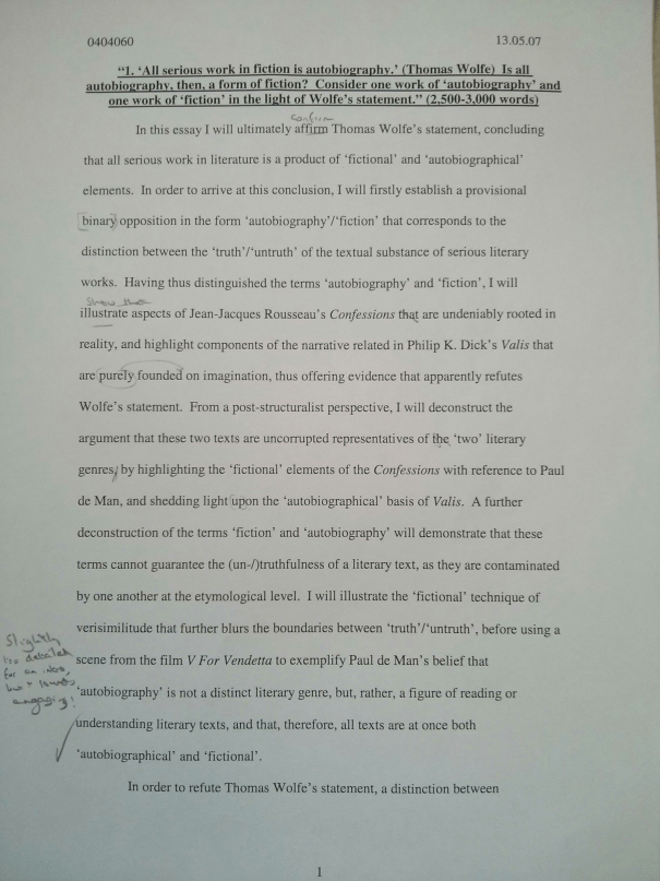 An image of the first marked page of Chris Larham's essay on the interplay between 'autobiography' and 'fiction' [70%, 2007].