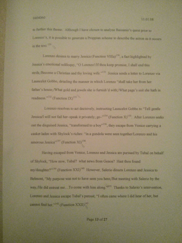 Image of the thirteenth marked page of Chris Larham's essay examining the extent to which women are shackled by patriarchy in Shakespeare's plays [65%, 2008].