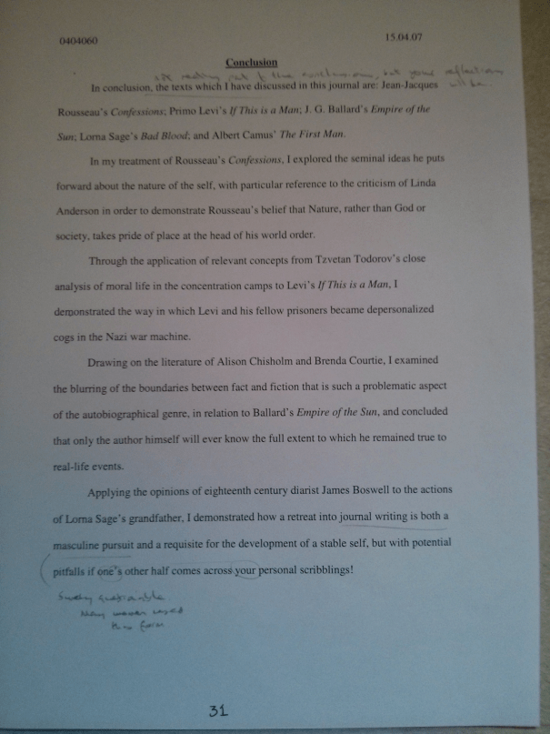 Image of the thirty-first page of Chris Larham's journal [65%, 2007] submitted as part of the 'Writing Selves: Understanding Autobiography' module.