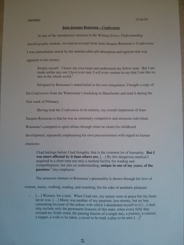 Image of the second page of Chris Larham's journal [65%, 2007] submitted as part of the 'Writing Selves: Understanding Autobiography' module.