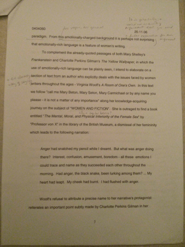 An image of the seventh marked page of Chris Larham's essay examining whether or not there are distinct characteristics in women's writing [70%, 2006].