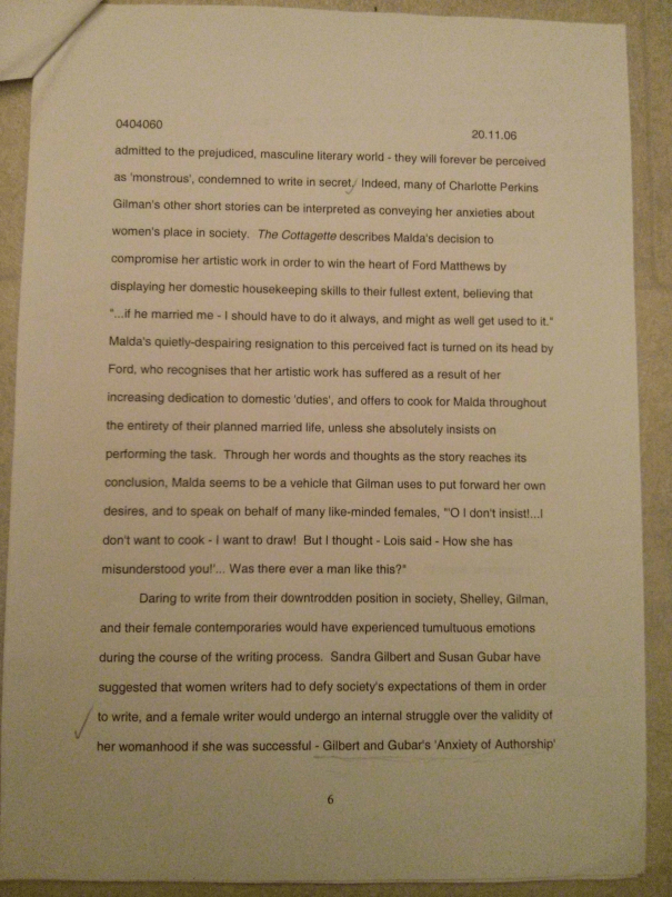 An image of the sixth marked page of Chris Larham's essay examining whether or not there are distinct characteristics in women's writing [70%, 2006].
