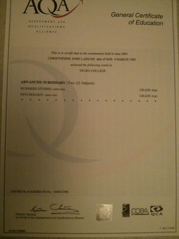 An image of Chris Larham's 'A'-grade Business Studies & Psychology A Level certificate [2001].