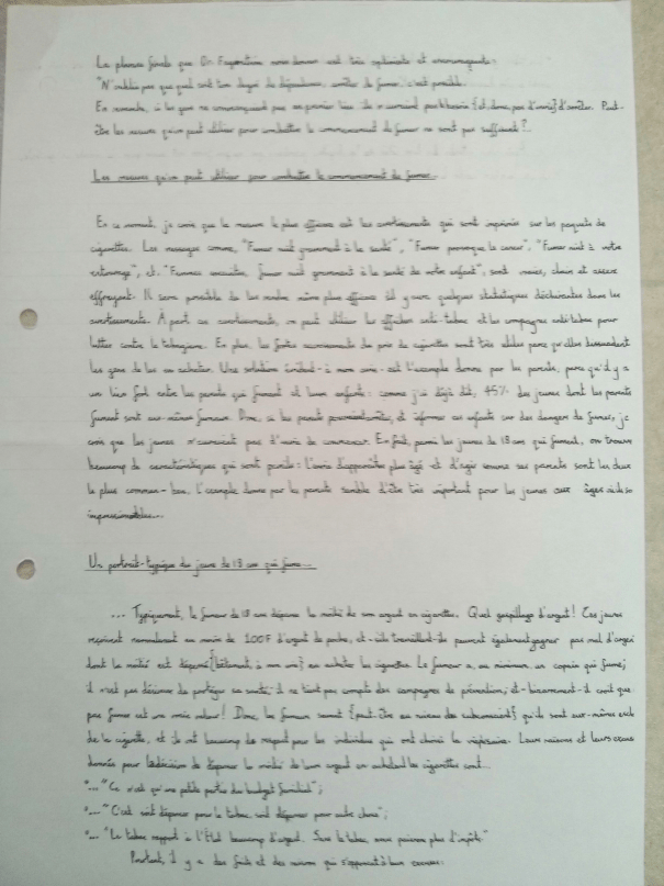 An image of the sixth page of Chris Larham's handwritten, verbatim French oral presentation on the subject of smoking in France [2000/2001].