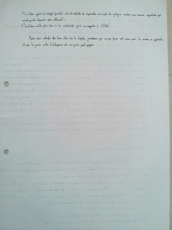 An image of the seventh page of Chris Larham's handwritten, verbatim French oral presentation on the subject of smoking in France [2000/2001].