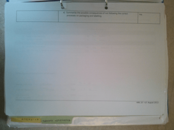 An image of the second page of the Assessment Checklist pertaining to BTEC Unit Four [2015].