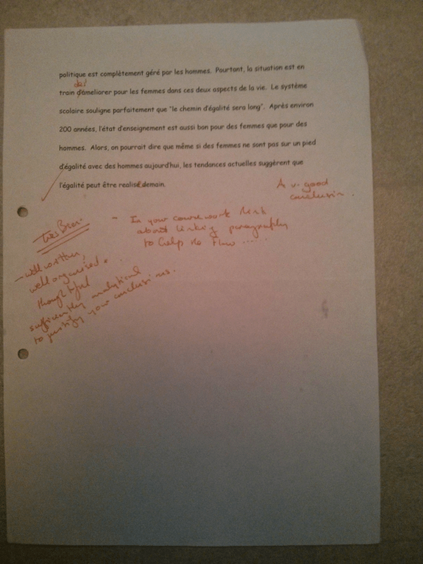 An image of the third page of Chris Larham's original piece of French A Level analytical writing on the theme of equality between the sexes in French society [ungraded, 2001/2002].