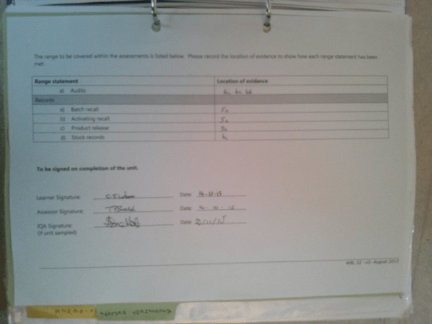 An image of the second page of the Assessment Checklist pertaining to Chris Larham's BTEC Unit Six [2015].