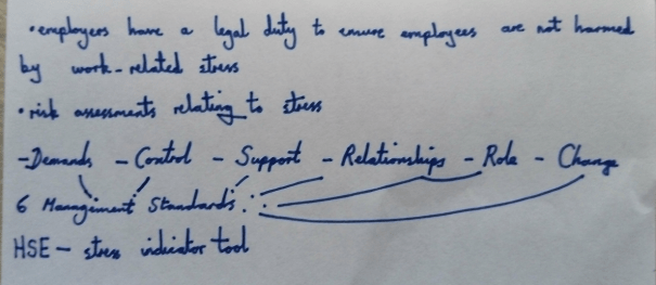 Image of the fifth page of Chris Larham's handwritten notes, taken on 31.1.17 when attending a session entitled 'Managing Sickness and Other Absences in the Workplace'.