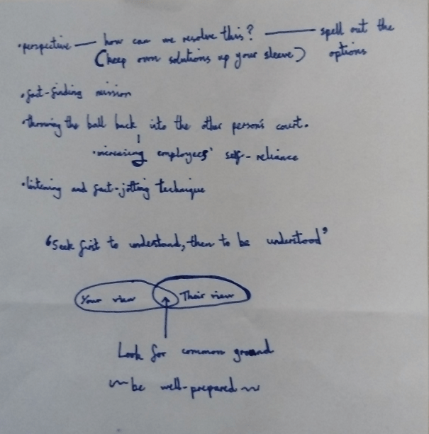 An image of the third page of the notes taken by Chris Larham while attending a session entitled 'Managing Critical Conversations', on 13.2.17.