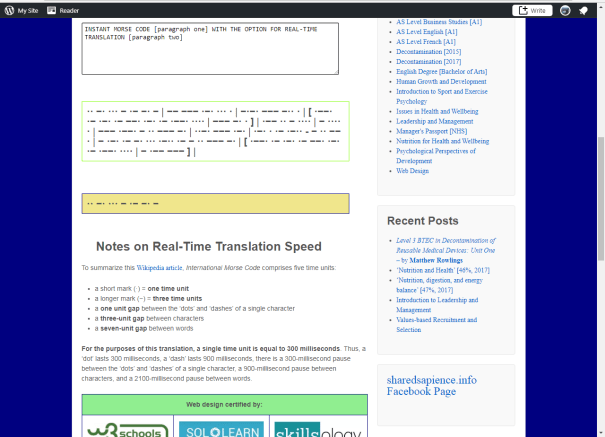 Screenshot of the Morse Code Translator in action.