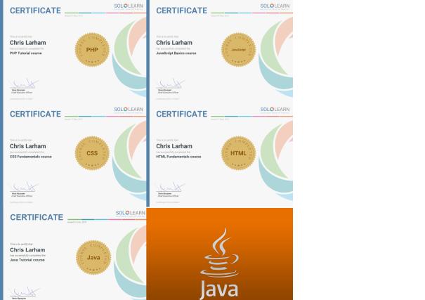 Chris Larham's SoloLearn certificates [2016-2018].