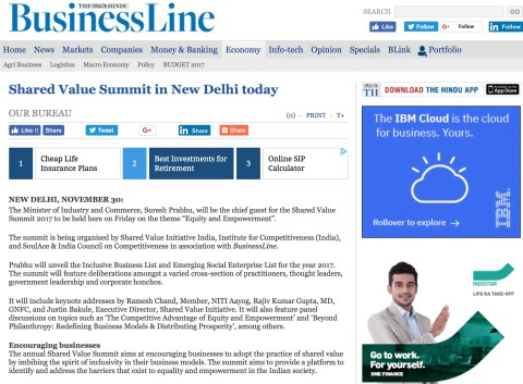 Shared Value Summit in New Delhi today