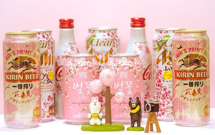 벚꽃 시즌 한정판 음료들. 벚꽃 축제 필수품이냐, 끔찍한 혼종이냐.