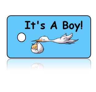 Birth Announcement Boy Stork Key Tags