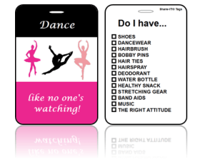 Sports Club Bag Tags Dance