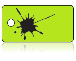 Create Design Key Tags Black Paint Splat Lime Green Background