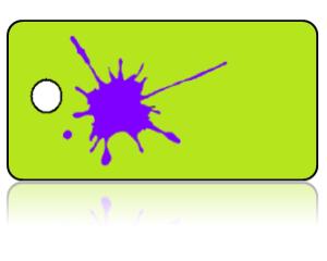 Create Design Key Tags Purple Paint Splat Lime Green Background