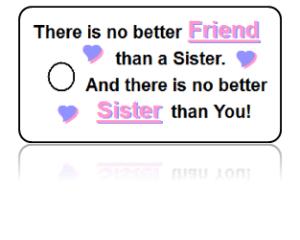 Sisters Celebration Key Tags White Design