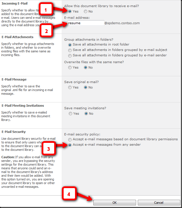 image thumb1 Configuring SharePoint 2010 Document Libraries with Exchange Server 2010 to receive mails from internal/external world