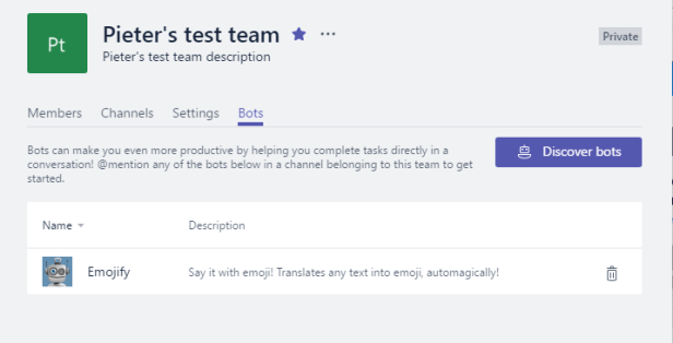 Microsoft Teams - Bots and Settings Microsoft 365, Microsoft Teams