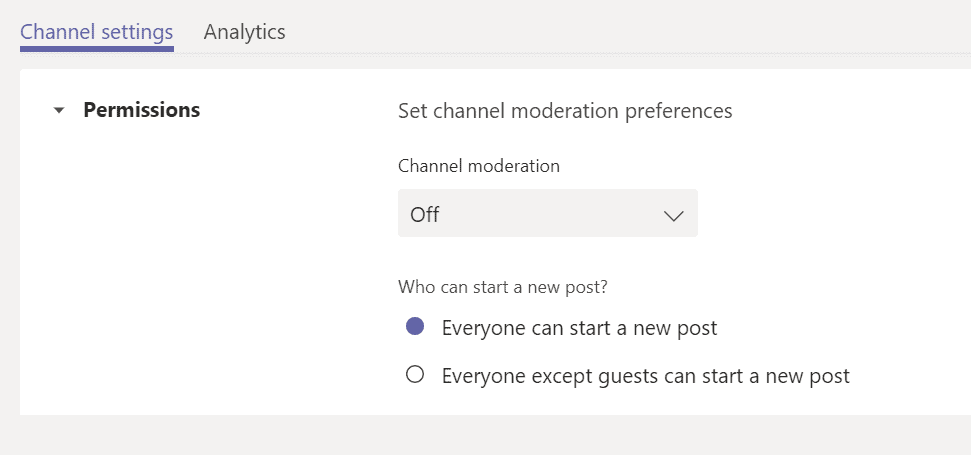 Enable Moderation in non Gneeral channel in Teams