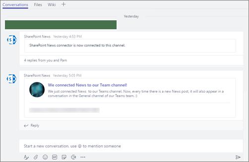 Microsoft Teams - SharePoint News connector Microsoft Office 365 f3d4a88d 6d08 4768 a3d5 688678411a38