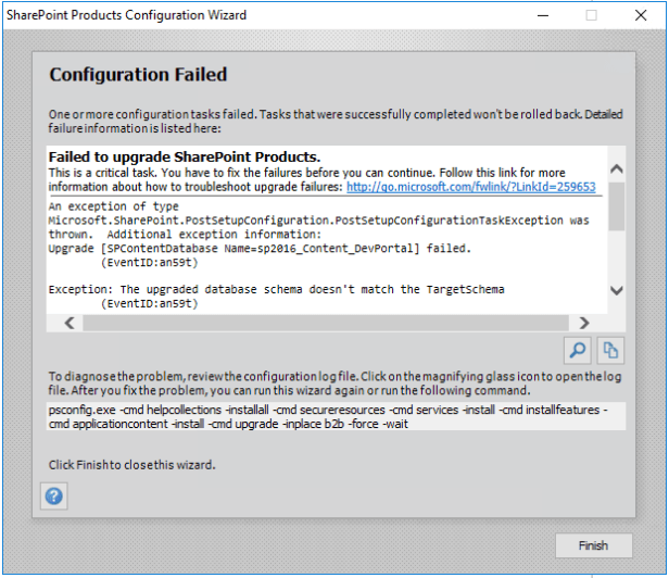 SharePoint 2016 - There was an exception in the database. 4