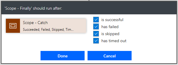 Microsoft Flow - Implementing a Try, Catch , Finally in a flow 3