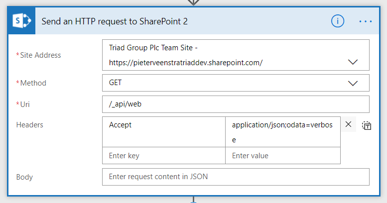 List the details of a site using the HTTP request to SharePoint
