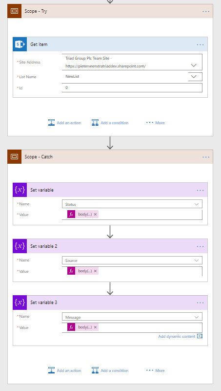 Try Catch pattern in my Flow with Power Automate