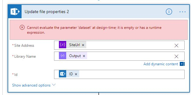 Cannot evaluate the parameter 'dataset' at design-time; it is empty or has a runtime expression