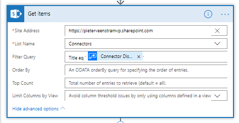 Get items finding existing connectors