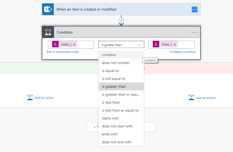 Microsoft Flow – Compare dates using conditions in the SharePoint connector