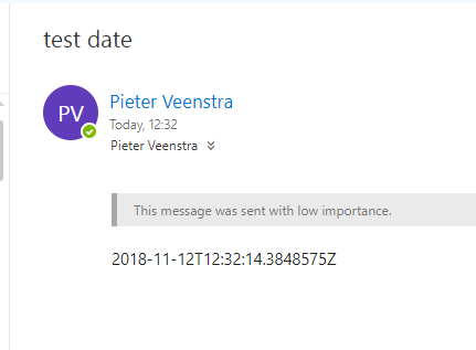 Date in email shown in standard UTC format