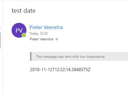 Date in email shown in standard UTC format