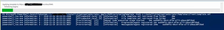 Running Apply-PnPProvisioningTemplate