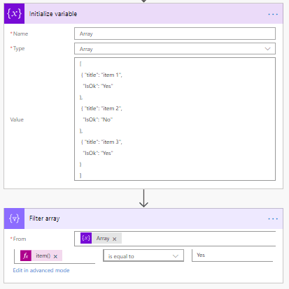 Filter the Array in Microsoft Flow