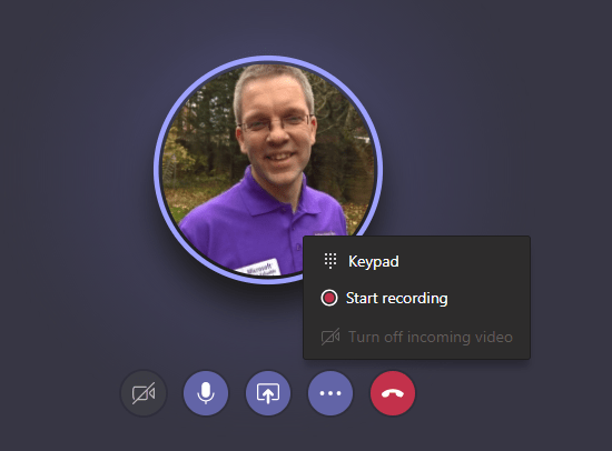Start to record in Microsoft Teams