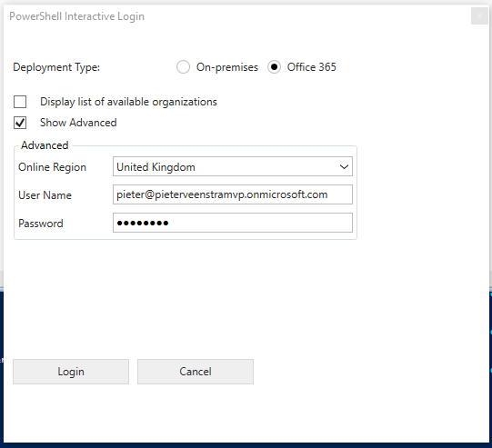 PowerShell interactive Login window