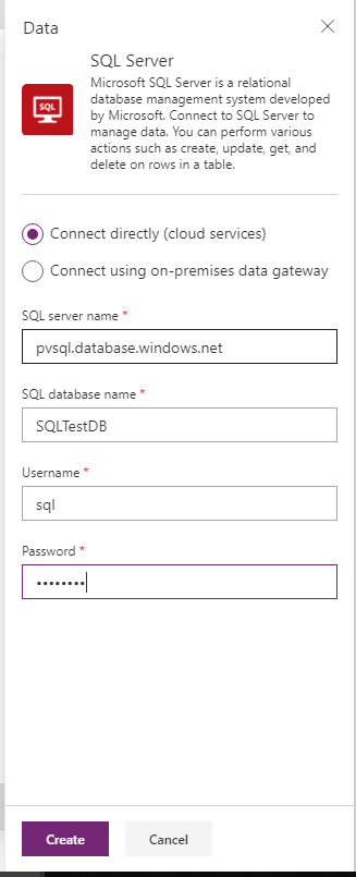Connect to SQL in PowerApps
