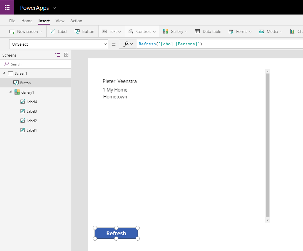 Refresh my data in PowerApps
