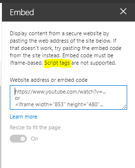 The Embed Webpart doesn't like Javascripts