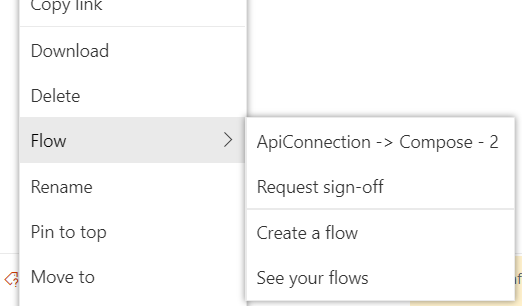 Flows from menu