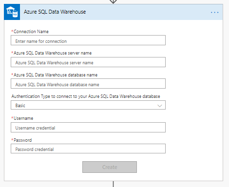 Azure SQL Data Warehouse connector