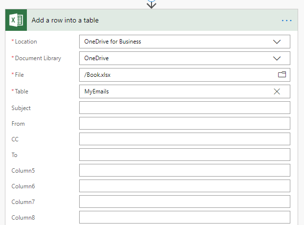 Add Row to Excel with columns