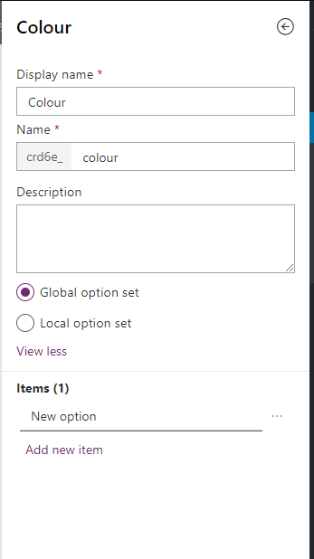Option set used for colours